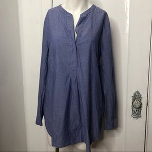 THEORY Orvinio Blouse Large Popover Chambray